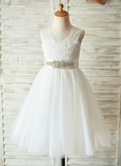 A-Line/Princess Knee-length Flower Girl Dress - Satin/Tulle/Lace Sleeveless Scoop Neck With Rhinestone (Detachable sash)
