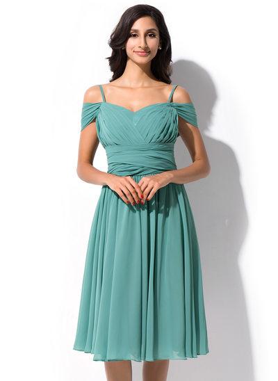 Vestidos princesa/ Formato A Off-the-ombro Coquetel Tecido de seda Vestido de madrinha com Pregueado