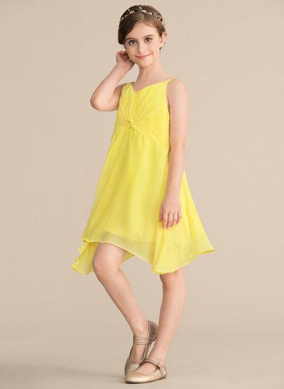A-Linie/Princess-Linie V-Ausschnitt Knielang Chiffon Kleid für junge Brautjungfern mit Rüschen