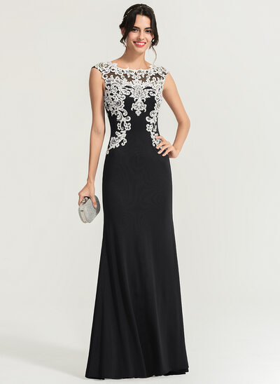 Sheath/Column Scoop Neck Floor-Length Jersey Prom Dresses