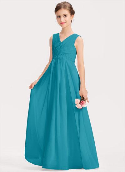 Corte A Decote V Longos Tecido de seda Vestido de daminha júnior com Pregueado