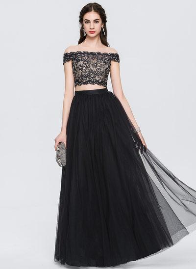 Çan/Prenses Off-Omuz Uzun Etekli Tül Mezuniyet Elbisesi Ile boncuklu kısım Payetler