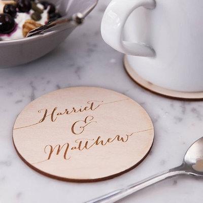 Sposo Regali - Personalizzato Colore Solido Legno Coaster