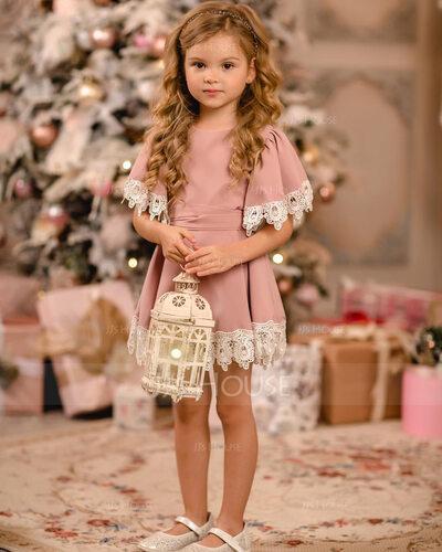 A-Line Knee-length Flower Girl Dress - Satin/Lace Short Sleeves Scoop Neck