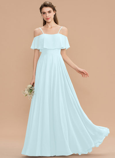 A-Line Off-the-Shoulder Floor-Length Chiffon Bridesmaid Dress