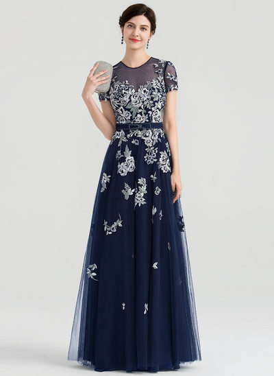 A-Line/Princess Scoop Neck Floor-Length Tulle Evening Dress With Beading Bow(s)