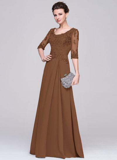 A-Linie/Princess-Linie U-Ausschnitt Bodenlang Chiffon Kleid für die Brautmutter mit Rüschen Perlstickerei Applikationen Spitze Pailletten