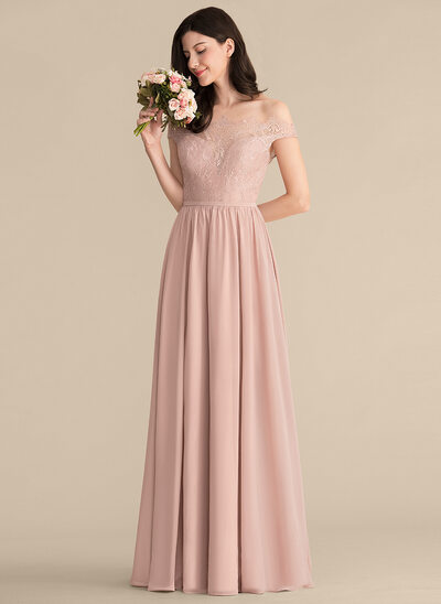 A-Line/Princess Off-the-Shoulder Floor-Length Chiffon Lace Prom Dresses