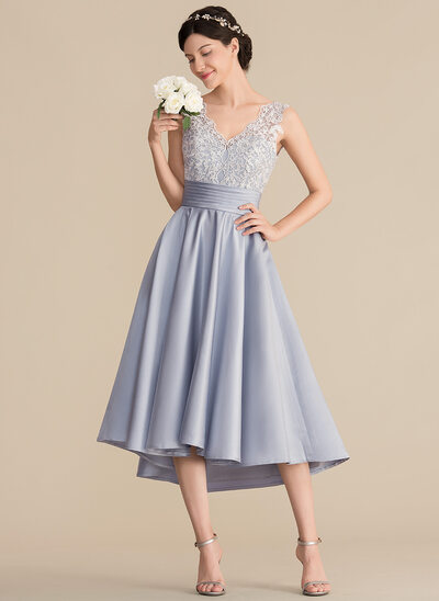 A-Line/Princess V-neck Asymmetrical Satin Lace Prom Dresses With Ruffle