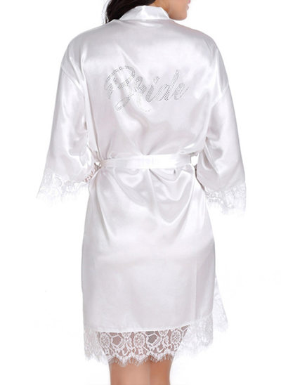Braut Satin Lace mit Kurz Roben aus Satin und Spitze Strass Roben