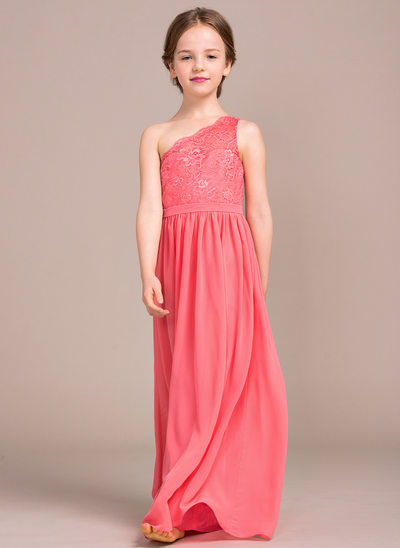 A-Line/Princess Floor-length Flower Girl Dress - Chiffon/Lace Sleeveless One-Shoulder