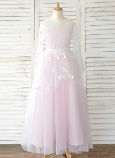 A-Line Sweep Train Flower Girl Dress - Tulle/Lace Long Sleeves Scoop Neck