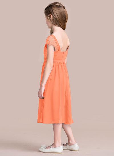 Vestidos princesa/ Formato A Decote quadrado Comprimento médio Tecido de seda Vestido de daminha júnior com Pregueado Renda
