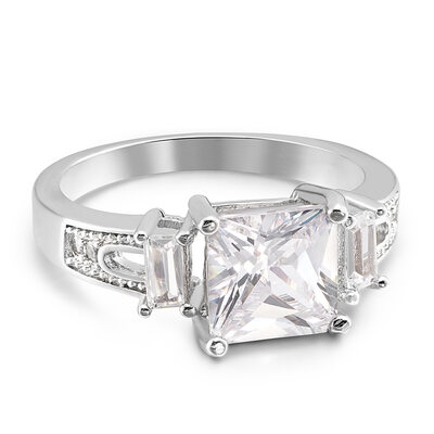 Sterling Silver Cubic Zirconia Halo Three Stone Princess Cut Engagement Rings Promise Rings -