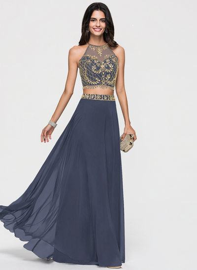 Corte A Decote redondo Longos Tecido de seda Vestido de baile com Beading lantejoulas