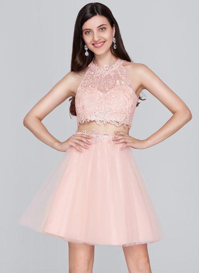 Vestidos princesa/ Formato A Decote redondo Curto/Mini Tule Vestido de boas vindas com Beading