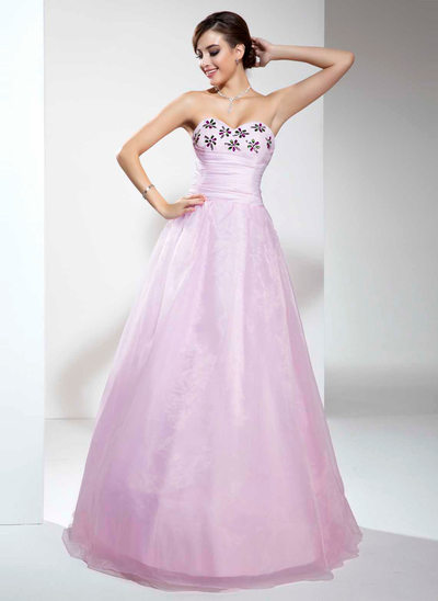 Vestidos princesa/ Formato A Coração Longos Organza de Vestido quinceanera com Pregueado Bordado