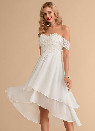 A-Line Off-the-Shoulder Asymmetrical Chiffon Lace Wedding Dress With Beading Sequins