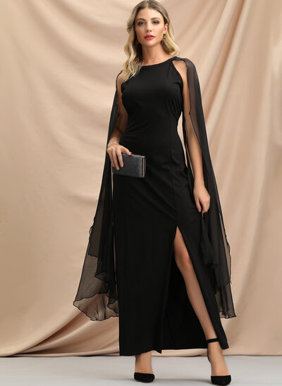 Sheath/Column Scoop Neck Ankle-Length Evening Dress