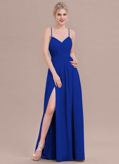 Çan/Prenses Sweetheart Uzun Etekli Şifon Mezuniyet Elbisesi Ile Büzgü Bölünmüş Ön