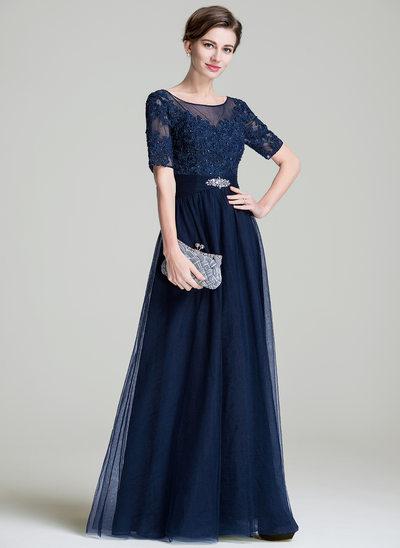 Vestidos princesa/ Formato A Decote redondo Longos Tule Vestido para a mãe da noiva com Pregueado Beading Apliques de Renda lantejoulas