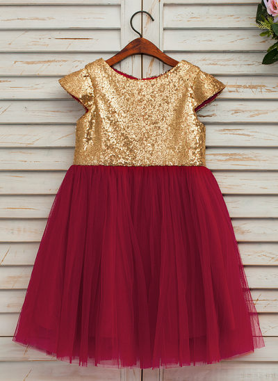 A-Line/Princess Knee-length Flower Girl Dress - Satin/Tulle Sleeveless Scoop Neck