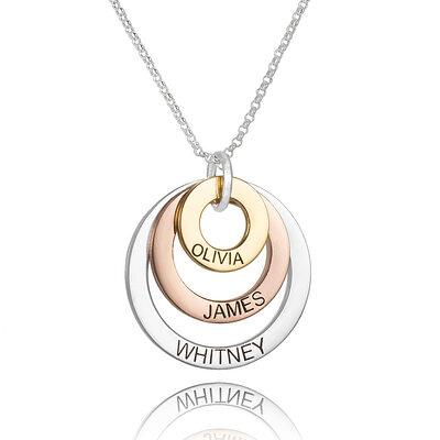 Personalisiert Sterling Silber Gravur / Gravur Kreis Drei Familienketten Kreis Halskette mit Kindernamen - Geburtstagsgeschenke Muttertagsgeschenke