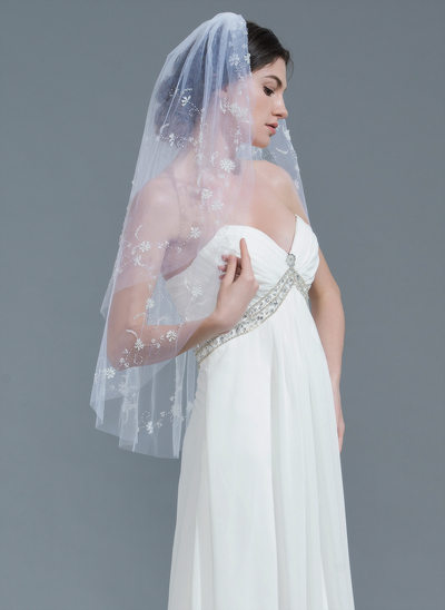 Two-tier Cut Edge Fingertip Bridal Veils With Beading
