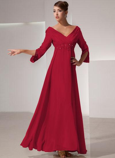 Empire-Linie V-Ausschnitt Bodenlang Chiffon Kleid für die Brautmutter mit Rüschen Perlen verziert