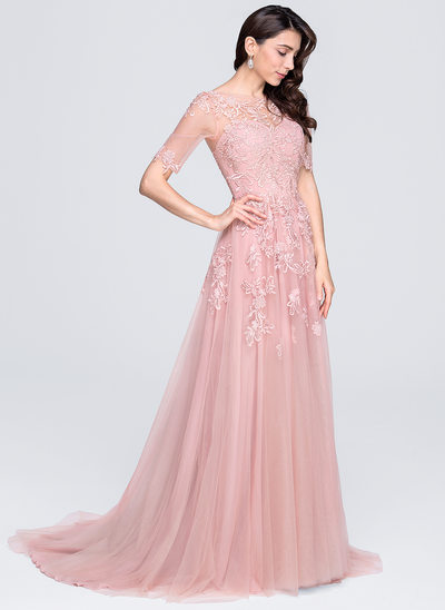 A-Line Scoop Neck Court Train Tulle Evening Dress With Appliques Lace