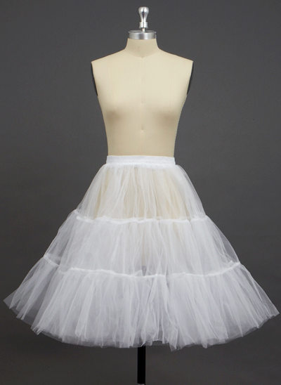 Women Tulle Netting Knee-length 2 Tiers Petticoats
