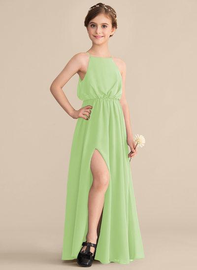 Corte A Decote quadrado Longos Tecido de seda Vestido de daminha júnior com Frente aberta