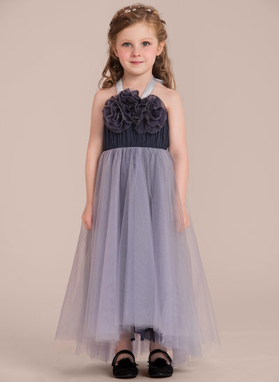 A-Line/Princess Asymmetrical Flower Girl Dress - Satin/Tulle Sleeveless Halter With Ruffles/Flower(s)