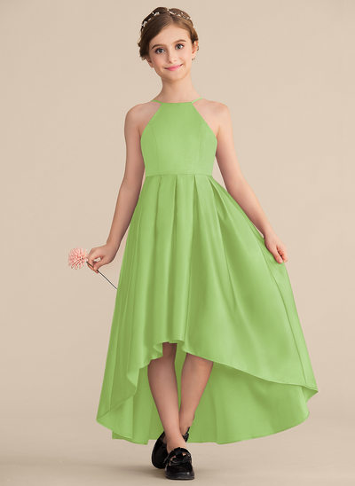 Трапеция/Принцесса Круглый асимметричный Атлас Платье Юнных Подружек Невесты с Рябь