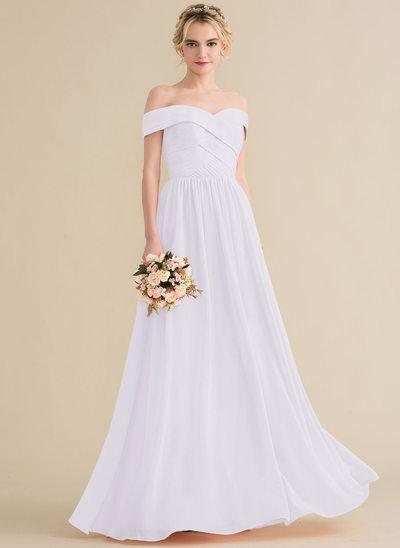 Vestidos princesa/ Formato A Off-the-ombro Longos Tecido de seda Vestido de baile com Pregueado