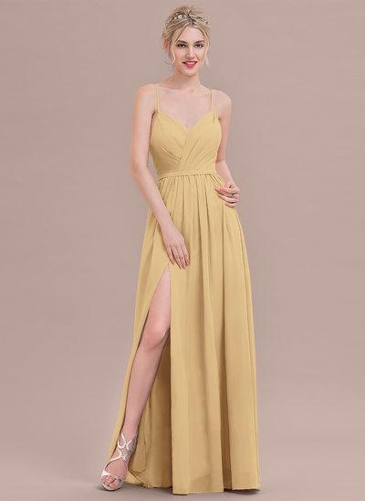 A-Line/Princess Sweetheart Floor-Length Chiffon Bridesmaid Dress With Ruffle Split Front