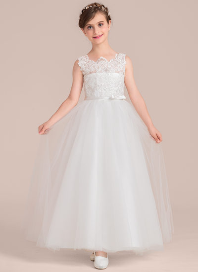 Scoop Neck Floor-Length Tulle Junior Bridesmaid Dress With Beading Bow(s)