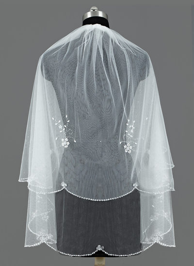 Zweischichtig Fingerspitze Braut Schleier mit Paillettenverzierung Kanten