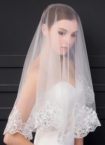 1 couche Bord en dentelle Voile de mariée longueur coude avec Paillette/Dentelle