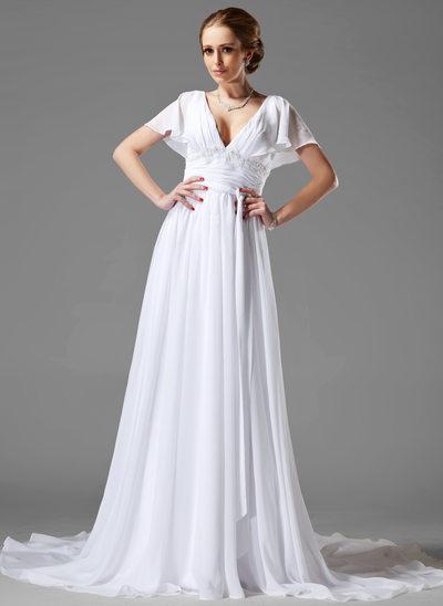 A-linjeformat V-ringning Chapel släp Chiffong Bröllopsklänning med Rufsar Pärlbrodering Applikationer Spetsar