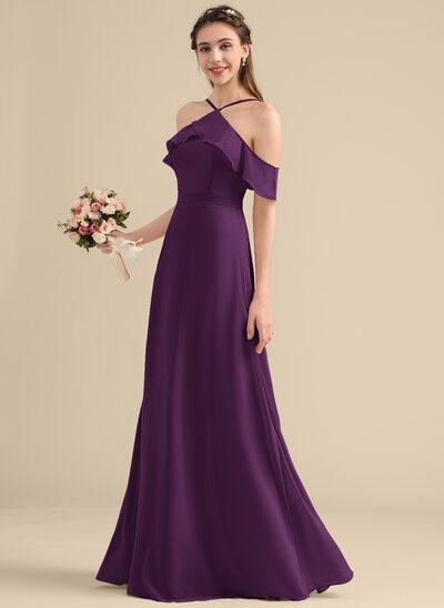 A-Line V-neck Floor-Length Chiffon Bridesmaid Dress With Bow(s) Cascading Ruffles