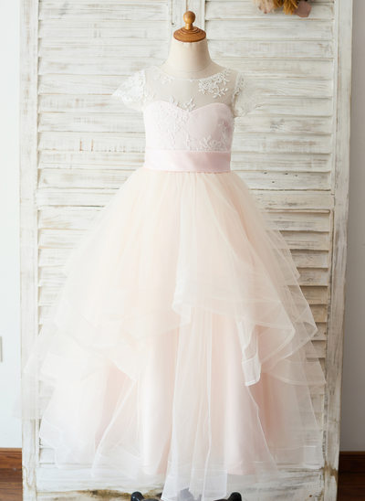 A-Line Floor-length Flower Girl Dress - Satin/Tulle/Lace Short Sleeves Scoop Neck With Appliques (Undetachable sash)