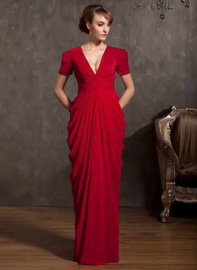 Sheath/Column V-neck Floor-Length Chiffon Mother of the Bride Dress With Ruffle