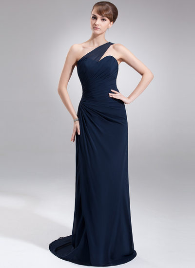 Sheath/Column One-Shoulder Sweep Train Chiffon Mother of the Bride Dress With Ruffle