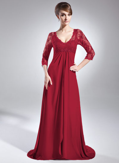 Empire-Linie V-Ausschnitt Sweep/Pinsel zug Chiffon Spitze Kleid für die Brautmutter mit Perlstickerei Pailletten Gestufte Rüschen
