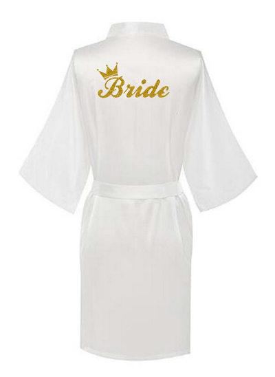 Personalized Charmeuse Bride Bridesmaid Glitter Print Robes