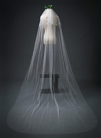 Two-tier Cut Edge Chapel Bridal Veils With Beading