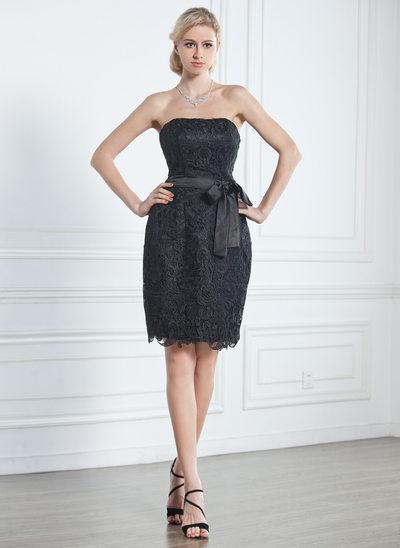 Платье-чехол Без лямок Длина до колен кружева Маленькое Чёрное платье