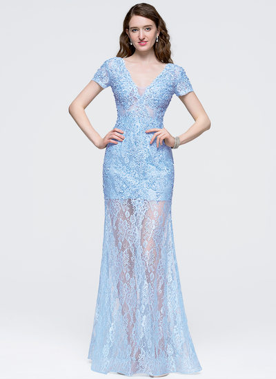 A-Line/Princess V-neck Floor-Length Lace Prom Dress With Beading Sequins