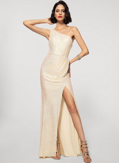 Sheath/Column One-Shoulder Floor-Length Sequined Evening Dress With Split Front